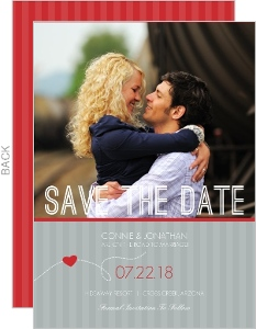 Red and Gray Modern Journey Save the Date