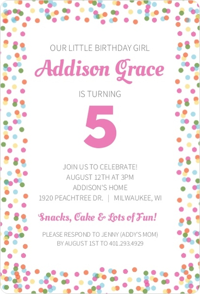 colorful birthday party kids birthday invitations