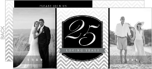 Silver Faux Glitter Chevron 25th Wedding Anniversary Invitation