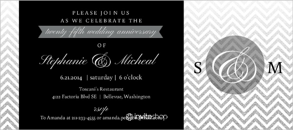 25th Wedding Invitations: Silver Faux Glitter Chevron 25th Wedding Anniversary