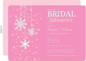 Pink Winter Snowflake Bridal Shower Invitation
