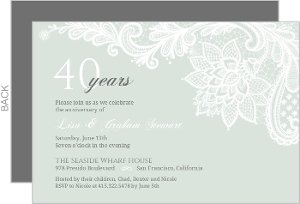 Cheap custom 40th anniversary invitations invite shop classy lace 40th anniversary invitation stopboris Image collections
