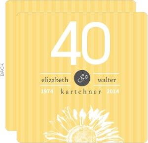 Sunflower Striped 40th Anniversary Invitation
