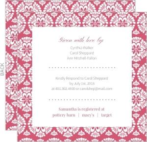Bold Pattern Rose Bridal Shower Invitation
