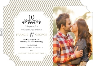 Taupe Elegant Frame 10th Anniversary Invitation