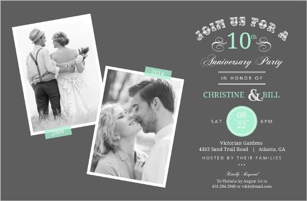 10th Wedding Anniversary Invitations: Vintage Typographic Memories 10th Anniversary Invitation