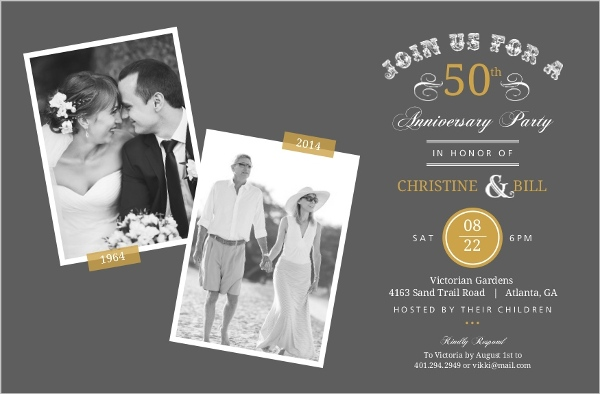 Cheap 50th Wedding Anniversary Invitations: Vintage Typographic Memories 50th Anniversary Invitation