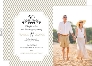 Taupe Elegant Frame 50th Anniversary Invitation