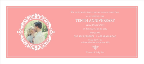 10th Wedding Anniversary Invitations: Sophisticated Monogram 10th Anniversary Invitation