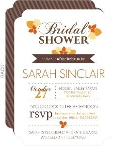 Autumn Leaves Modern Bridal Shower Invitation