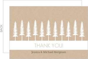 Green Kraft Pine Trees Wedding Thank You Card