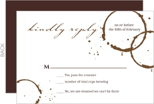 Coffee Stain A Perfect Blend Wedding Response Card