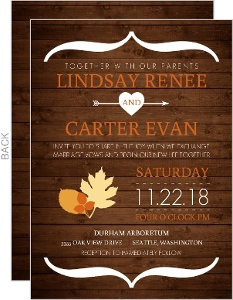 Rustic Autumn Woodgrain Wedding Invitation