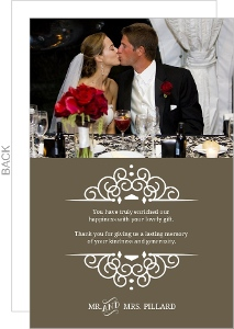 Brown Intricate White Frame Wedding Thank You Card