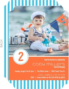 Aqua Striped 2nd Birthday Invitation