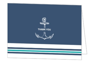 Teal Navy Nautical Anchor Wedding Thank You Card