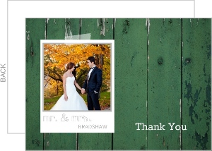 Photo Frame Green Woodgrain Wedding Thank You Card