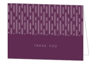 Purple Willow Leaf Pattern Wedding Thank You Card