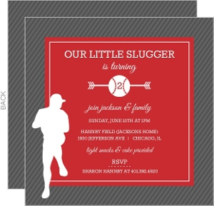Red and Gray Player Silhouette Baseball Party Invitation