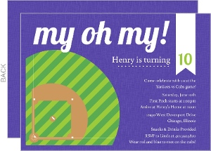Green and Purple Diamond Baseball Party Invitation