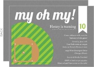 Green and Gray Diamond Baseball Party Invitation