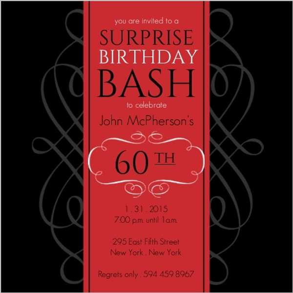 Formal red surprise birthday soiree invite surprise birthday formal red surprise birthday soiree invite stopboris Image collections