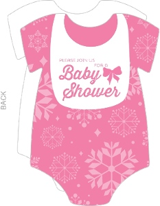 Bright Pink Baby Snow Shower Invitation