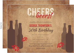 Cheers for Beers Holiday Birthday Party Invite