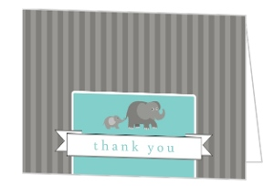 Gray Elephants Baby Thank You Card