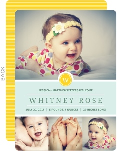 Pastel Yellow Monogram Baby Announcement