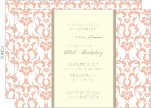 Peach and Texture 60th Birthday Invitation