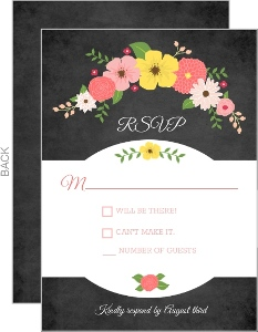 Spring Country Floral Chalkboard Response Card