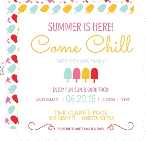 Colorful Popsicles Summer Party Invitation