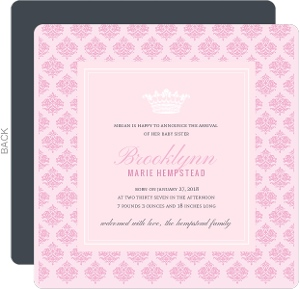 Royal Pink Princess Sibling Birth Announcement