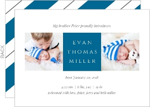 Gray and Blue Boy Sibling Birth Announcement