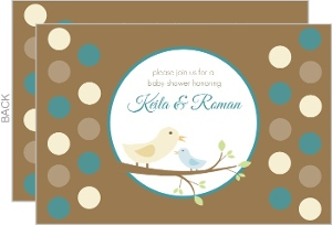 Brown and Blue Mommy and Baby Bird Baby Shower Invitation