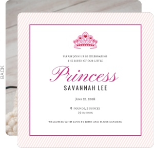 Pink Princess Tiara Girl Baby Announcement
