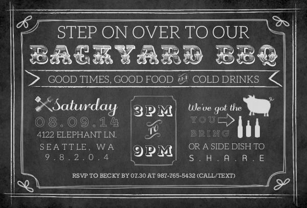 chalkboard vintage backyard bbq invitation bbq invitations