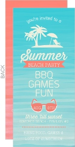 Watercolor Tropical Beach Summer Party Invitation