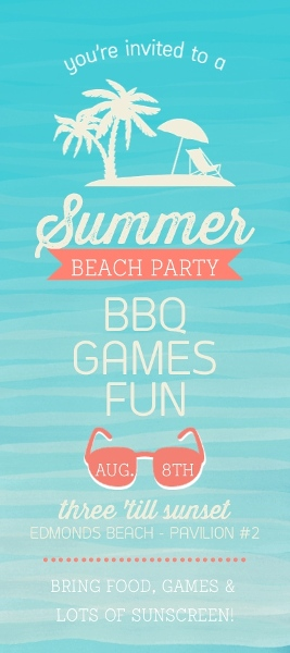 watercolor tropical beach summer party invitation end of summer