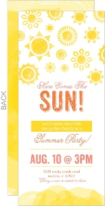 Yellow Watercolor Sunshine Summer Party Invitation