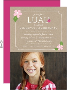Simple Floral Frame Luau Party Invitation