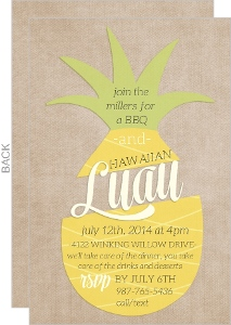 Pineapple Cutout BBQ Luau Invitation