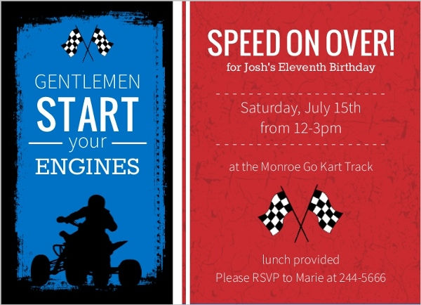 Go Kart Race Car Birthday Party Invitation on race car wedding theme