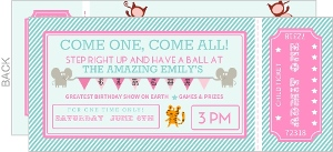 Pink and Teal Circus Ticket Kids Birthday Party Invitation