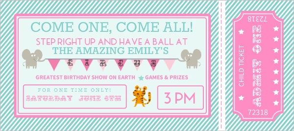 Pink and Teal Circus Ticket Kids Birthday Party Invitation Kids