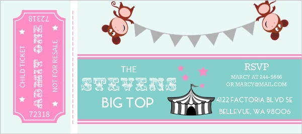 pink and teal circus ticket kids birthday party invitation kids birthday invitations. Black Bedroom Furniture Sets. Home Design Ideas