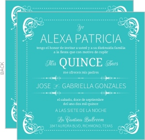 Elegant Teal Flourish Border Quinceanera Invitation