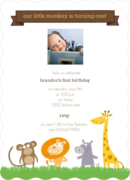 Jungle Animals First Birthday Invitation First Birthday Invitations