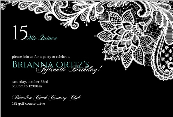 Black floral lace quinceanera invitation quinceanera invitations black floral lace quinceanera invitation stopboris Gallery